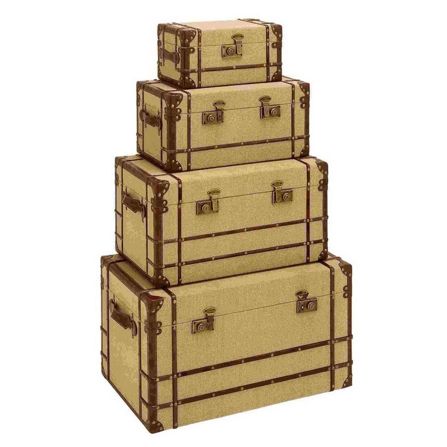 Woodland Imports Set of 4 Old Look Burlap Wood Storage Trunks