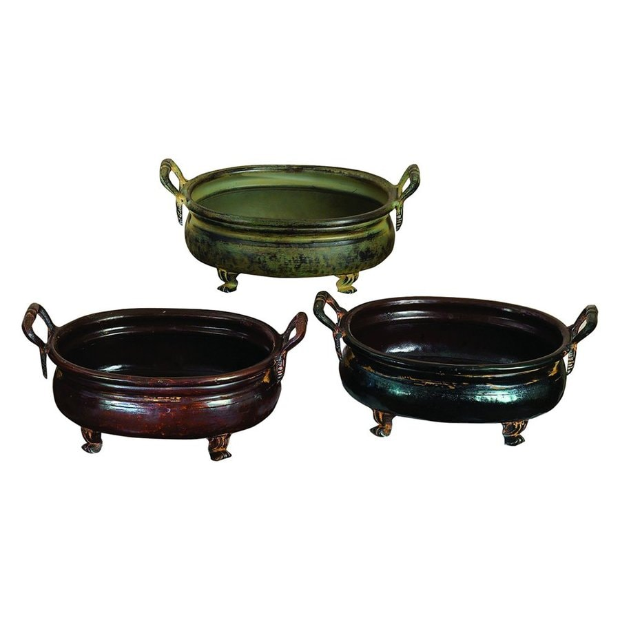 Woodland Imports 12-in x 6-in Black Brown Rustic Green Metal Low Bowl Planter