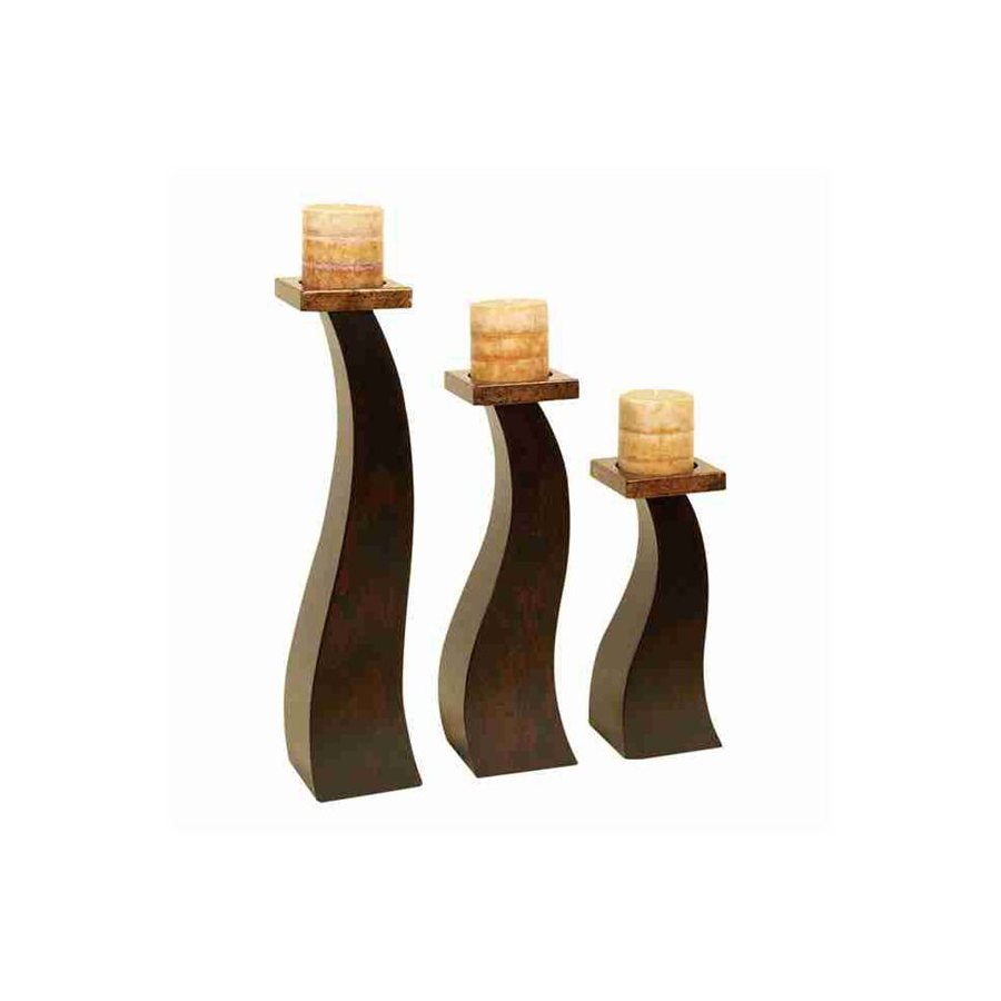 Shop Woodland Imports 3 Candle Wood Pillar Candle Holder