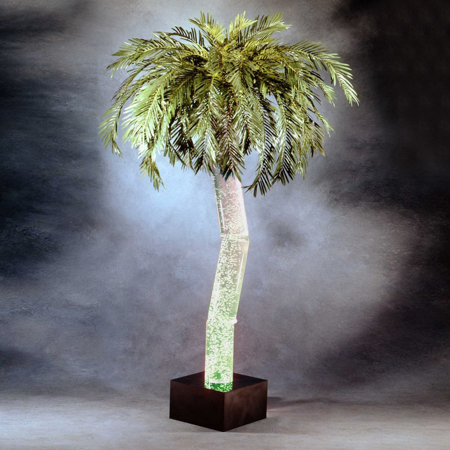 midwest tropical 6.33-ft Aqua Bubbling Palm Artificial Christmas Tree with Multicolor Lights