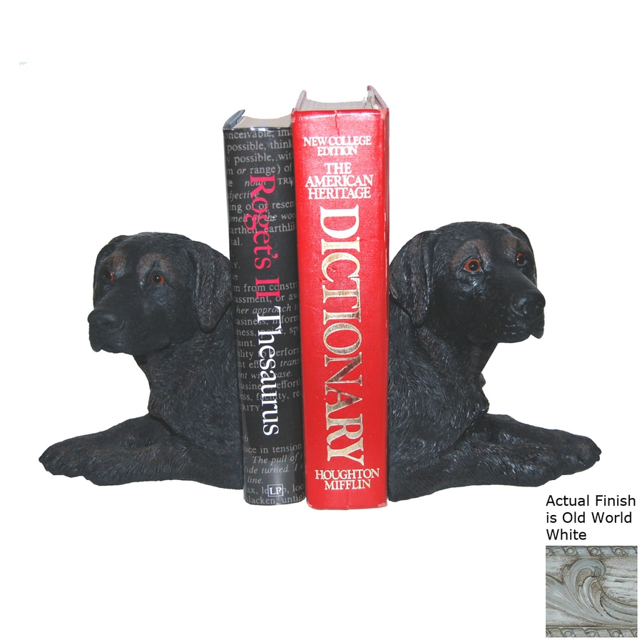Hickory Manor House Set of 2 Black Lab Old World White Resin Bookends