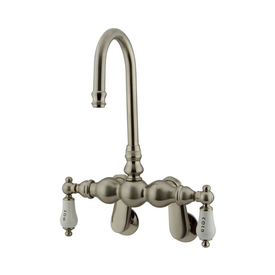 Elements of Design Hot Springs Satin Nickel 2-Handle-Handle Adjustable Clawfoot Tub Filler Bathtub Faucet