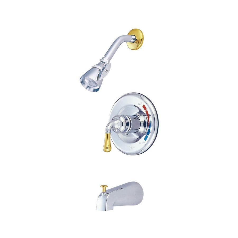 Elements of Design Magellan Chrome/Polished Brass 1-Handle Bathtub and Shower Faucet with Single Function Showerhead