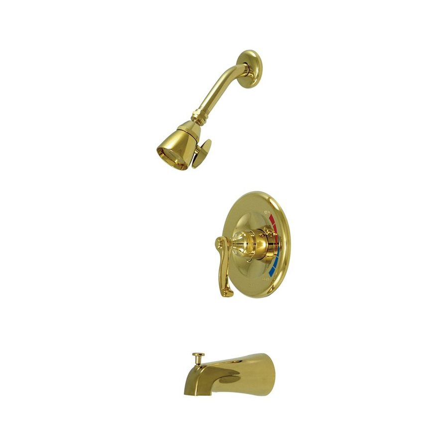 Elements of Design Polished Brass 1-Handle Bathtub and Shower Faucet Trim Kit with Single Function Showerhead