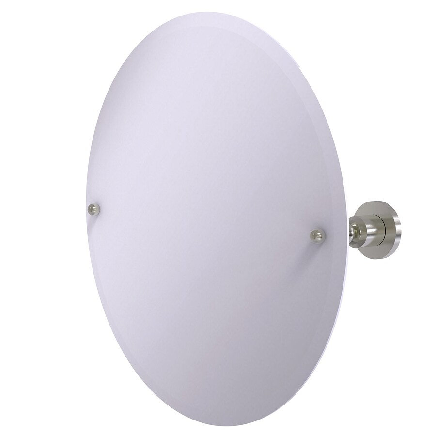 Allied Brass Astor Place 22-in W x 22-in H Round Tilting Frameless Bathroom Mirror with Satin Nickel Hardware and Beveled Edges