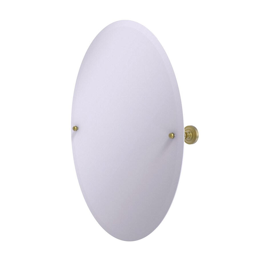 Allied Brass Dottingham 21-in W x 29-in H Oval Tilting Frameless Bathroom Mirror with Satin Brass Hardware and Beveled Edges