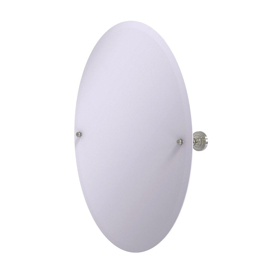 Allied Brass Dottingham 21-in W x 29-in H Oval Tilting Frameless Bathroom Mirror with Satin Nickel Hardware and Beveled Edges