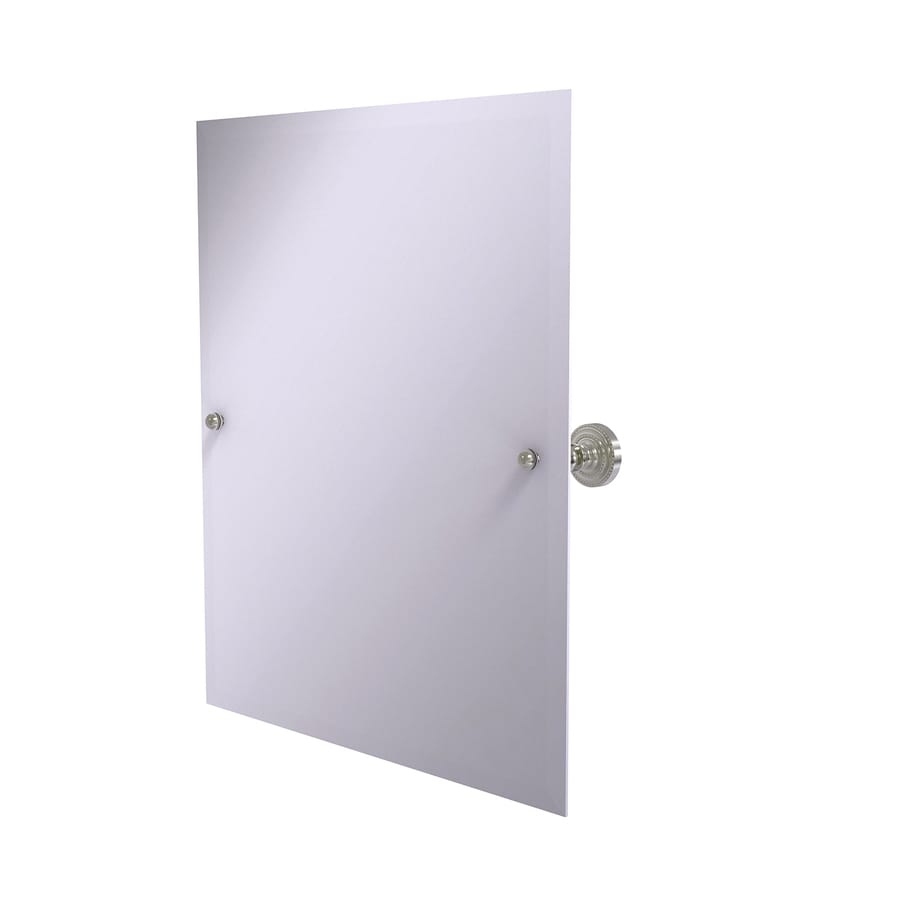Allied Brass Dottingham 21-in W x 26-in H Rectangular Tilting Frameless Bathroom Mirror with Satin Nickel Hardware and Beveled Edges