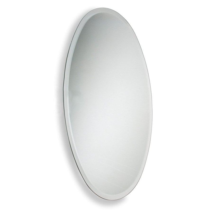 Allied Brass 21-in W x 29-in H Oval Frameless Bathroom Mirror with Antique Brass Hardware and Beveled Edges