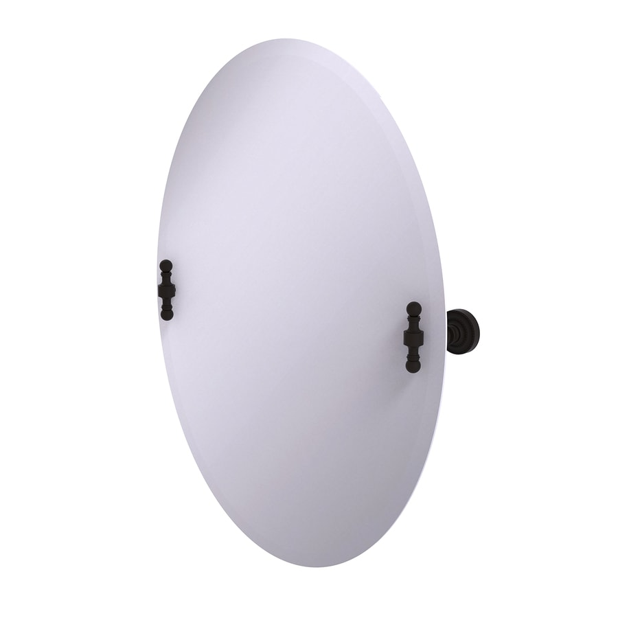 Allied Brass Retro-Dot 21-in W x 29-in H Oval Tilting Frameless Bathroom Mirror with Oil-Rubbed Bronze Hardware and Beveled Edges