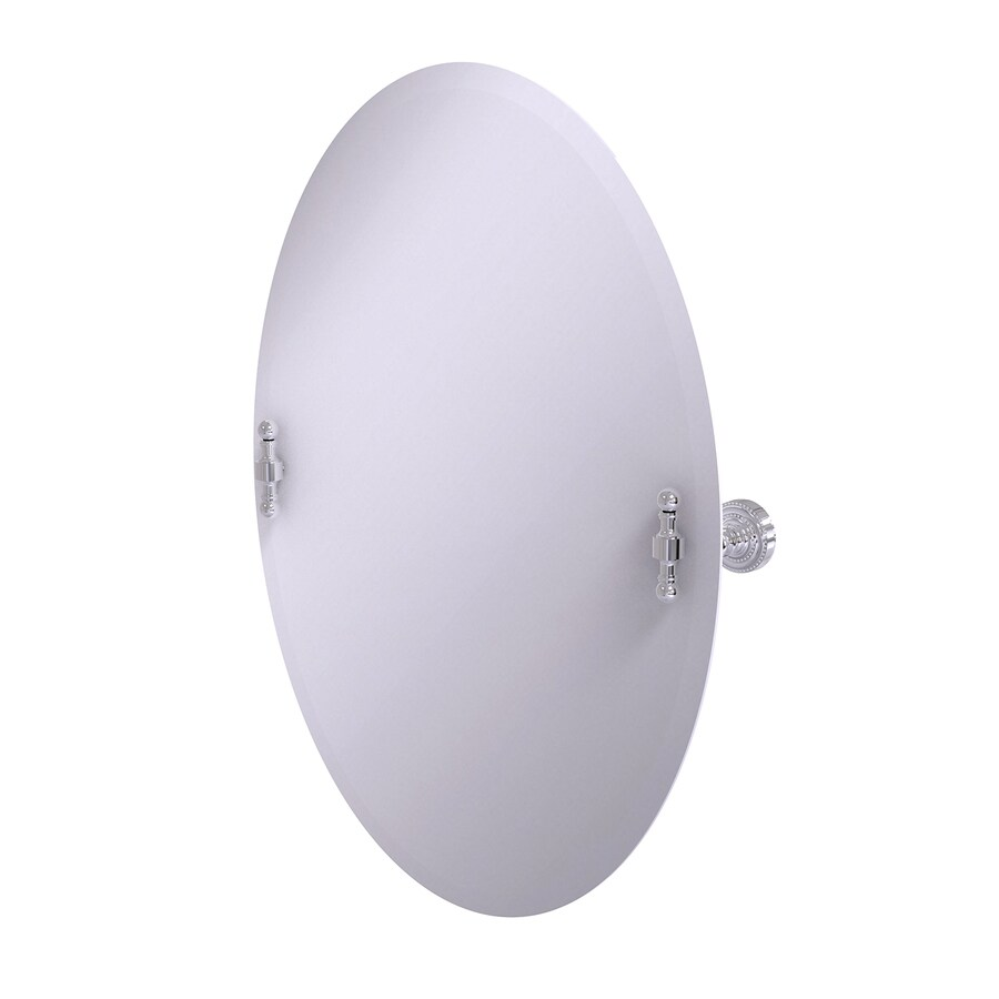 Allied Brass Retro-Dot 21-in W x 29-in H Oval Tilting Frameless Bathroom Mirror with Polished Chrome Hardware and Beveled Edges