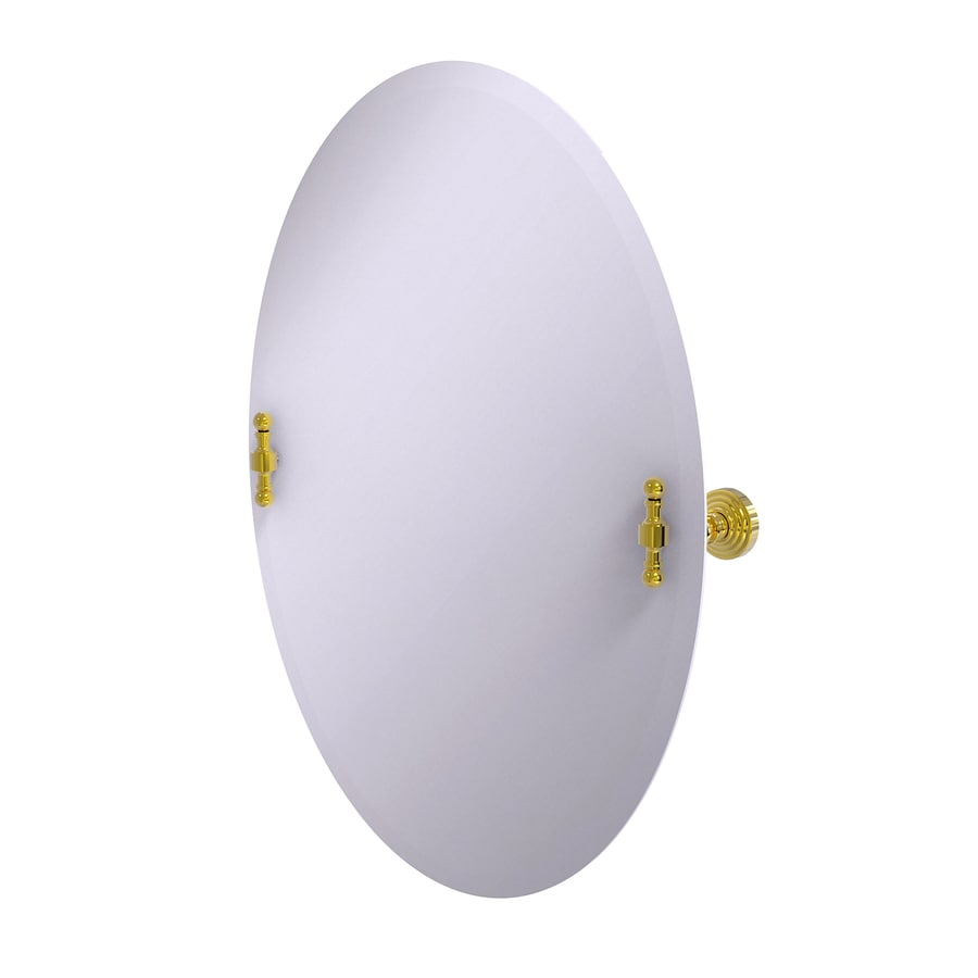 Allied Brass Retro-Wave 21-in W x 29-in H Oval Tilting Frameless Bathroom Mirror with Polished Brass Hardware and Beveled Edges