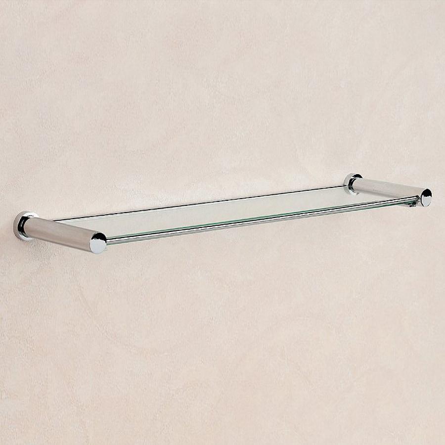 Nameeks Cylinder Chrome Glass Bathroom Shelf