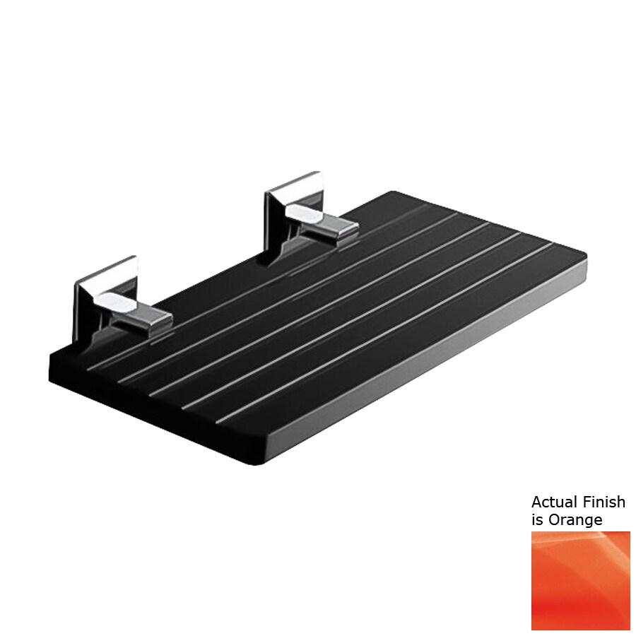 Nameeks Grip Chrome/Orange Plastic Bathroom Shelf