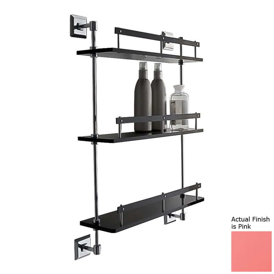 Nameeks Grip 3-Tier Chrome/Pink Plastic Bathroom Shelf