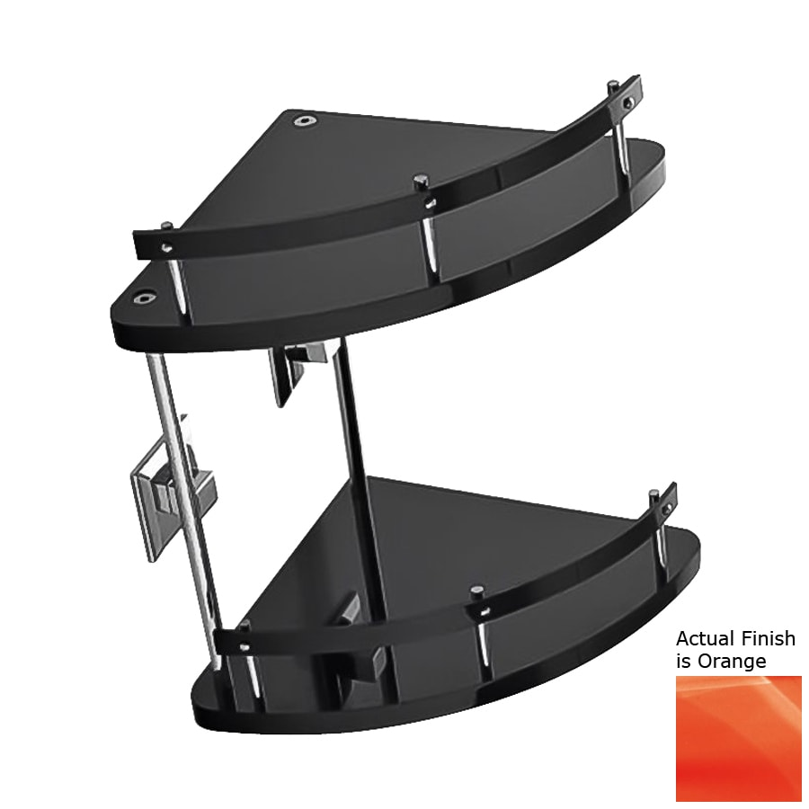 Nameeks Grip 2-Tier Chrome/Orange Plastic Bathroom Shelf