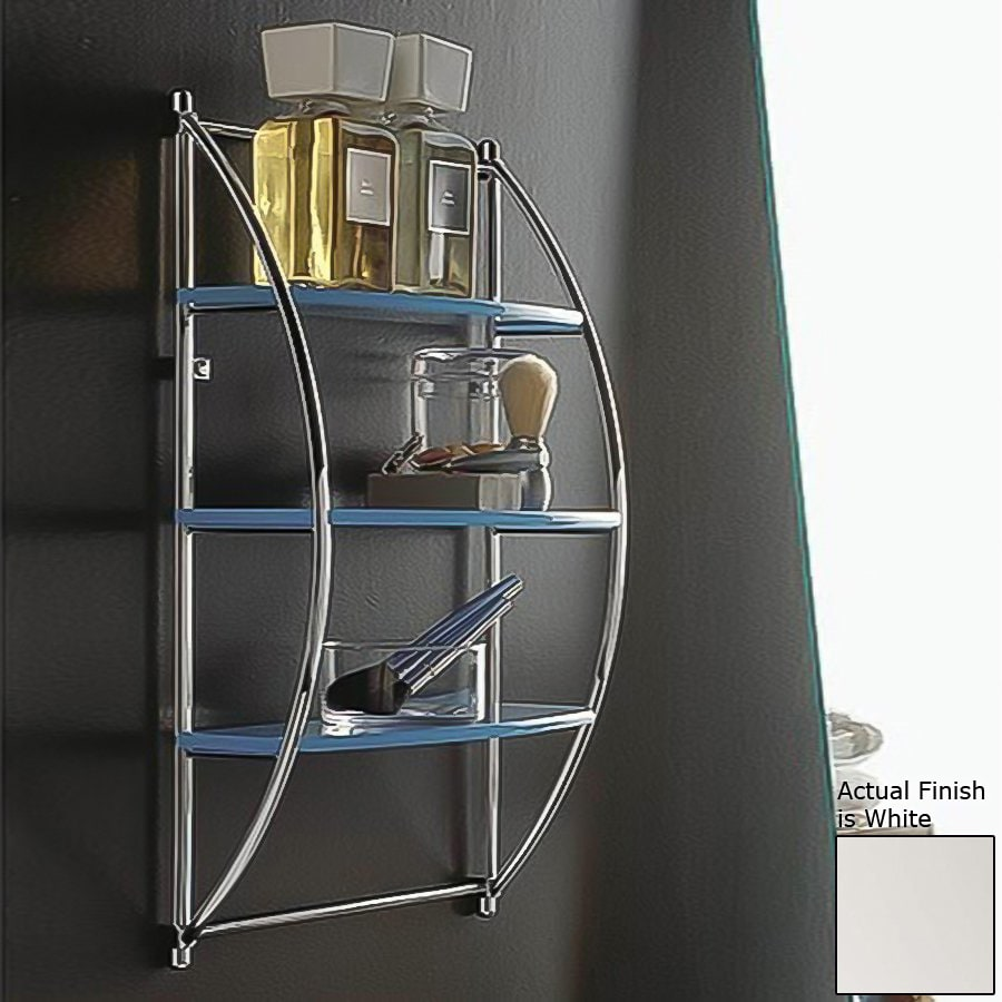Nameeks Kor 3-Tier Chrome/White Plastic Bathroom Shelf