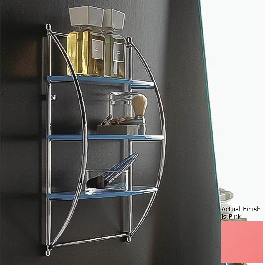 Nameeks Kor 3-Tier Chrome/Pink Plastic Bathroom Shelf