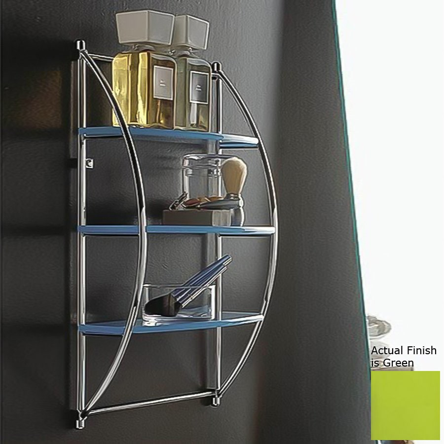 Nameeks Kor 3-Tier Chrome/Green Plastic Bathroom Shelf
