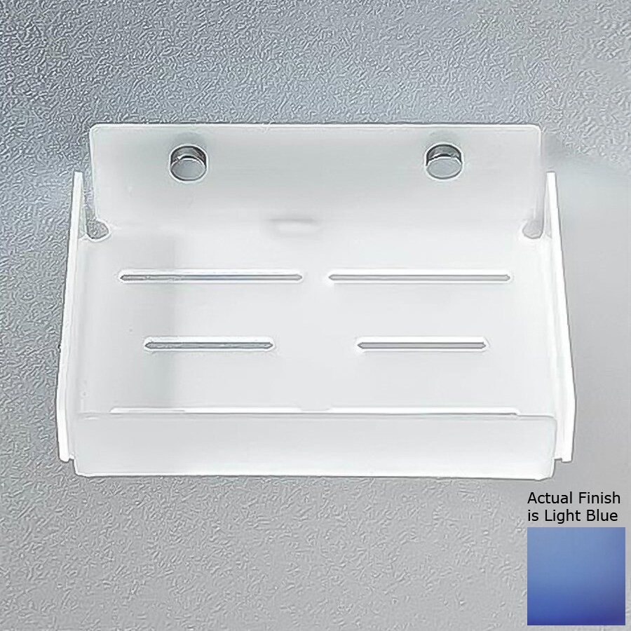 Nameeks Corner Chrome/Light Blue Plastic Bathroom Shelf