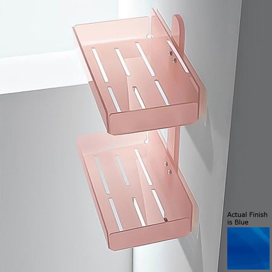 Nameeks Corner 2-Tier Chrome/Blue Plastic Bathroom Shelf