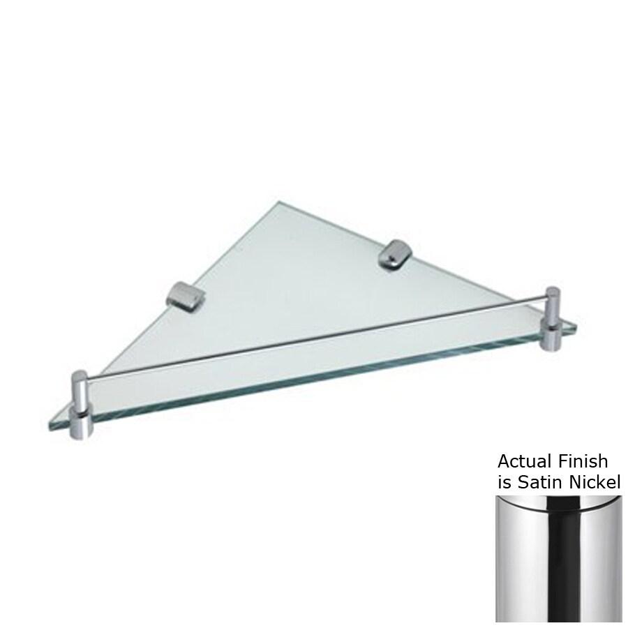 Nameeks Fluyd Satin Nickel Glass Bathroom Shelf
