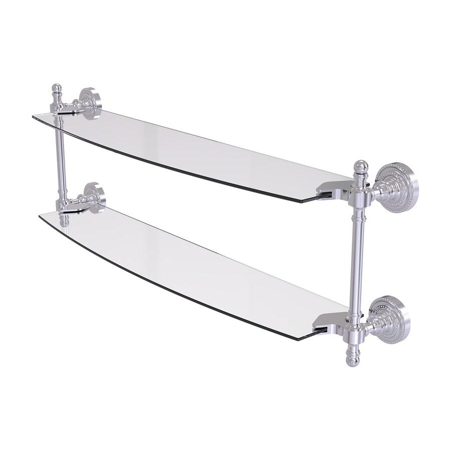Allied Brass Retro-Dot 2-Tier Satin Chrome Brass Bathroom Shelf