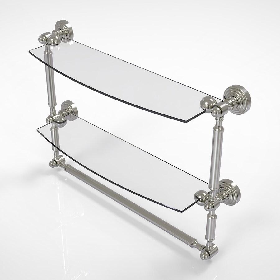 Allied Brass Waverly Place 2-Tier Satin Nickel Brass Bathroom Shelf