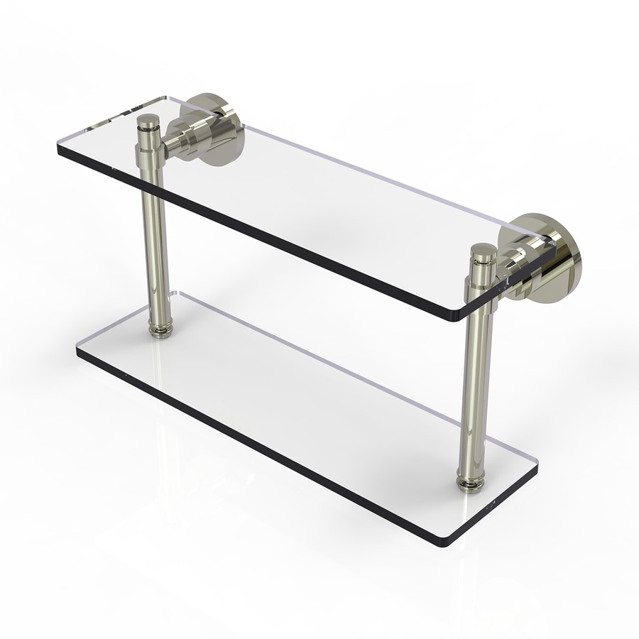 Allied Brass Washington Square 2-Tier Polished Nickel Brass Bathroom Shelf