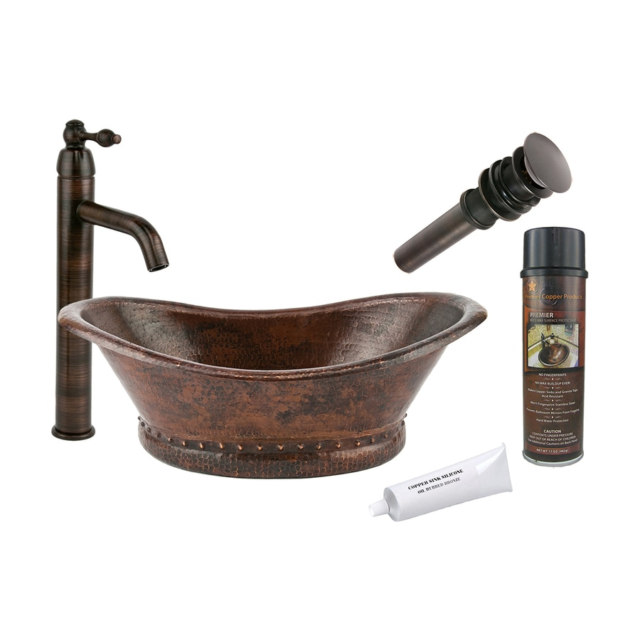 Shop Premier Copper Products Oil Rubbed Bronze Copper Vessel Oval Bathroom Sink With Faucet
