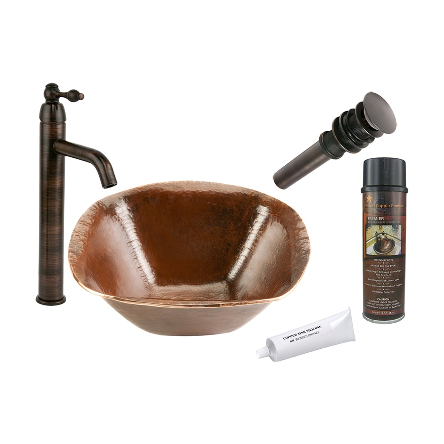 bronze copper vessel square bathroom sink with faucet drain included