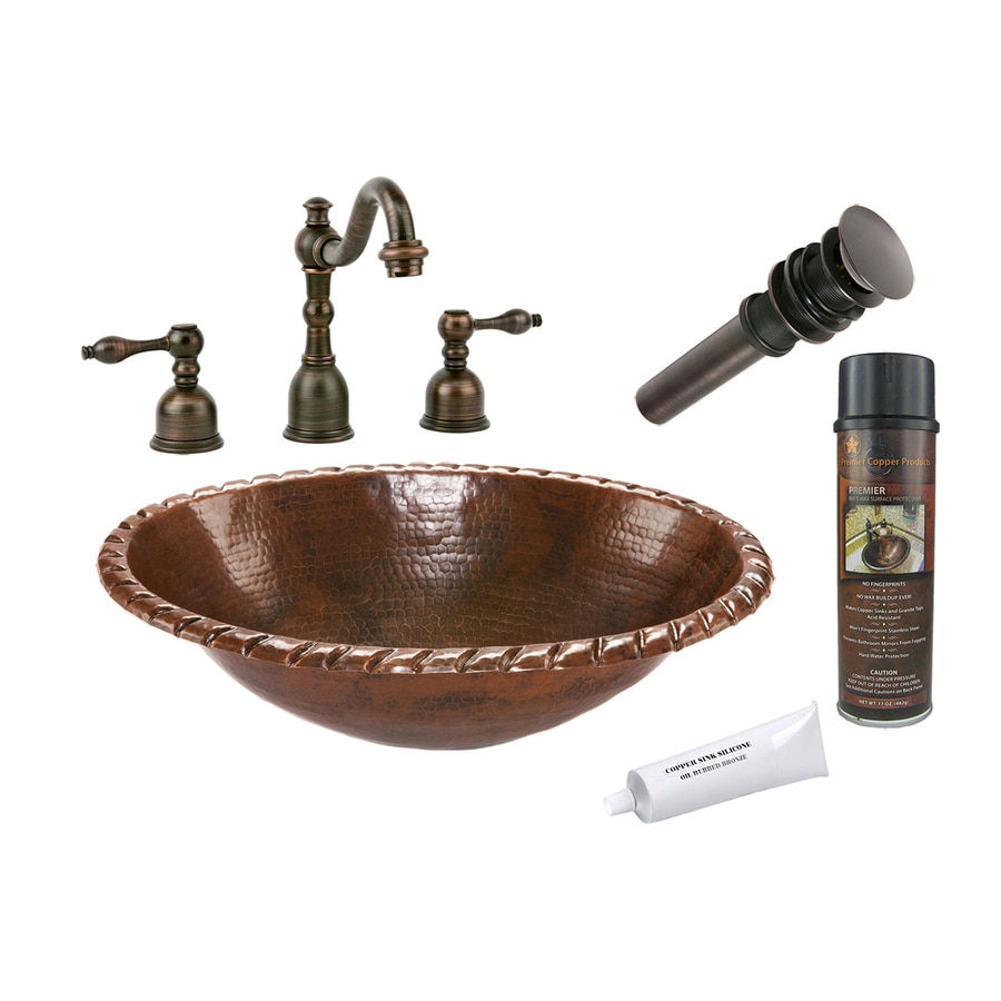 Premier Copper Products Oil-Rubbed Bronze Copper Drop-In Oval Bathroom Sink Drain Included