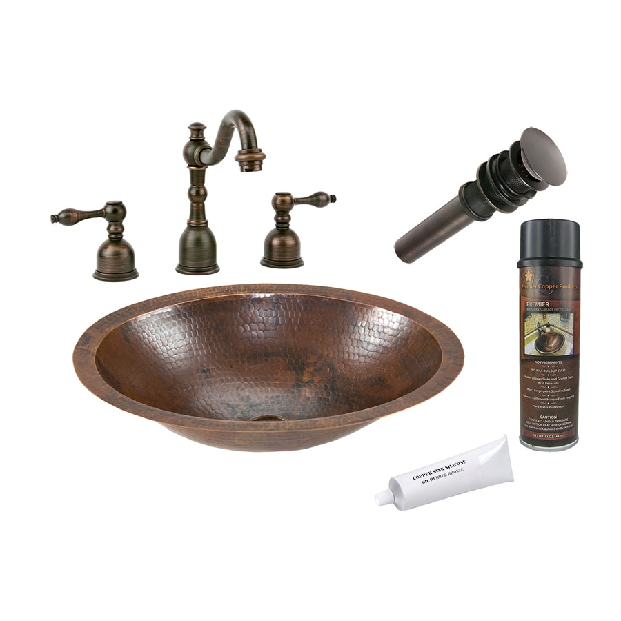 Premier Copper Products Oil-Rubbed Bronze Copper Undermount Oval Bathroom Sink Drain Included