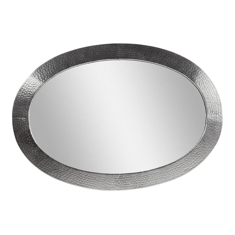 The Copper Factory Artisan 26.5-in W x 18.5-in H Satin Nickel Oval Bathroom Mirror