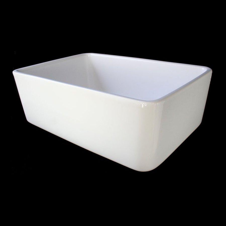 Alfi 16-in x 23.5-in White Single-Basin Fireclay Apron Front/Farmhouse Residential Kitchen Sink