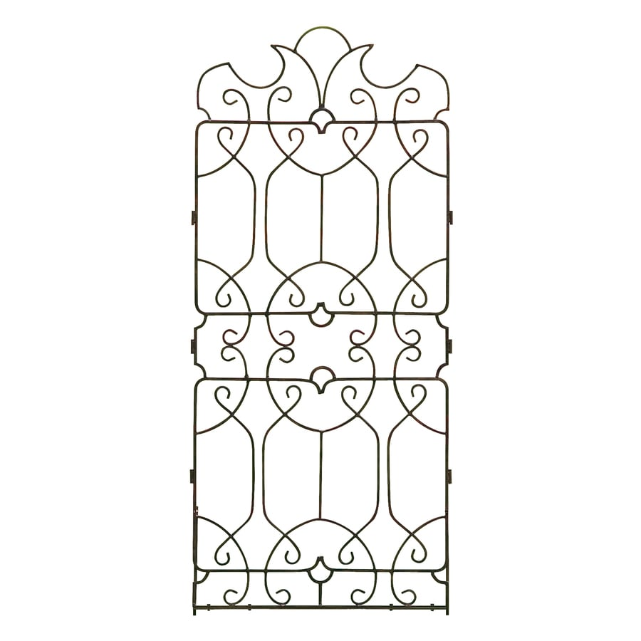 H. Potter Classical 32-in W x 72-in H Charcoal Brown Scroll Garden Trellis