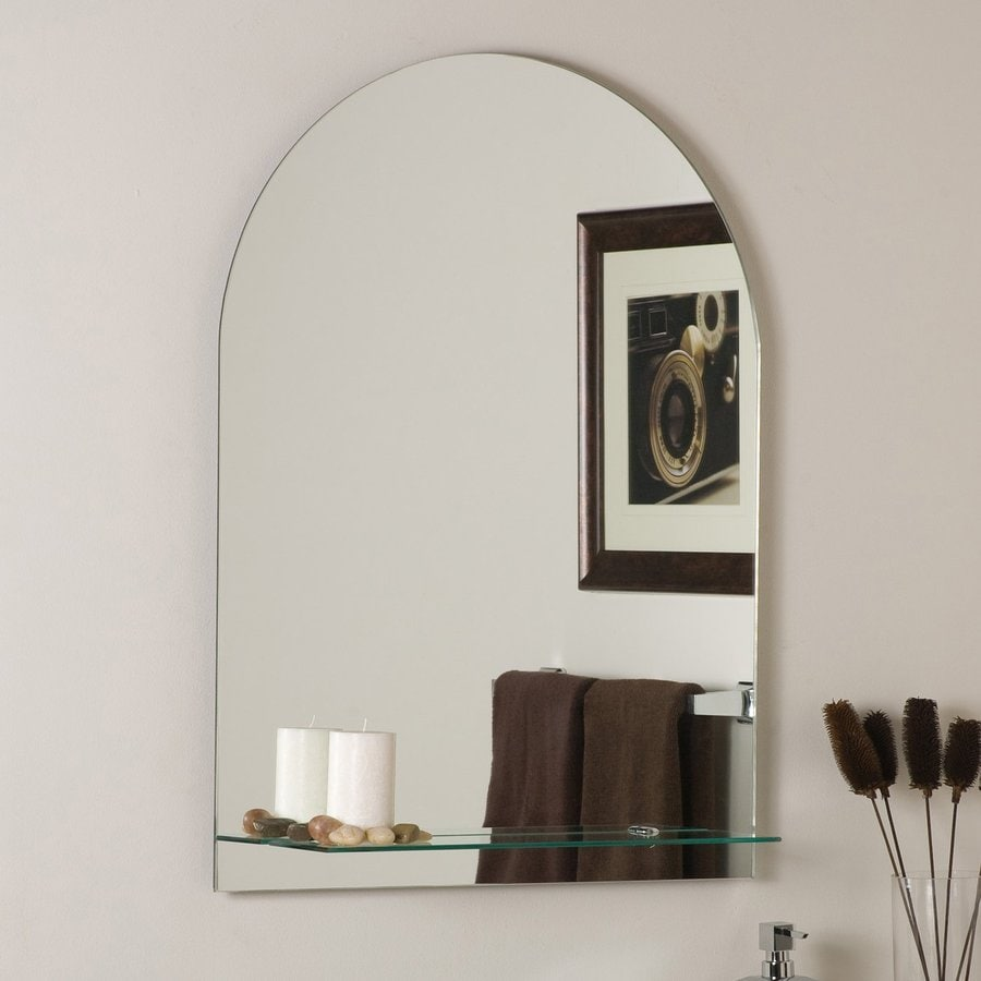 Decor Wonderland Roland 23.6-in W x 31.5-in H Arch Frameless Bathroom Mirror with Hardware and Beveled Edges