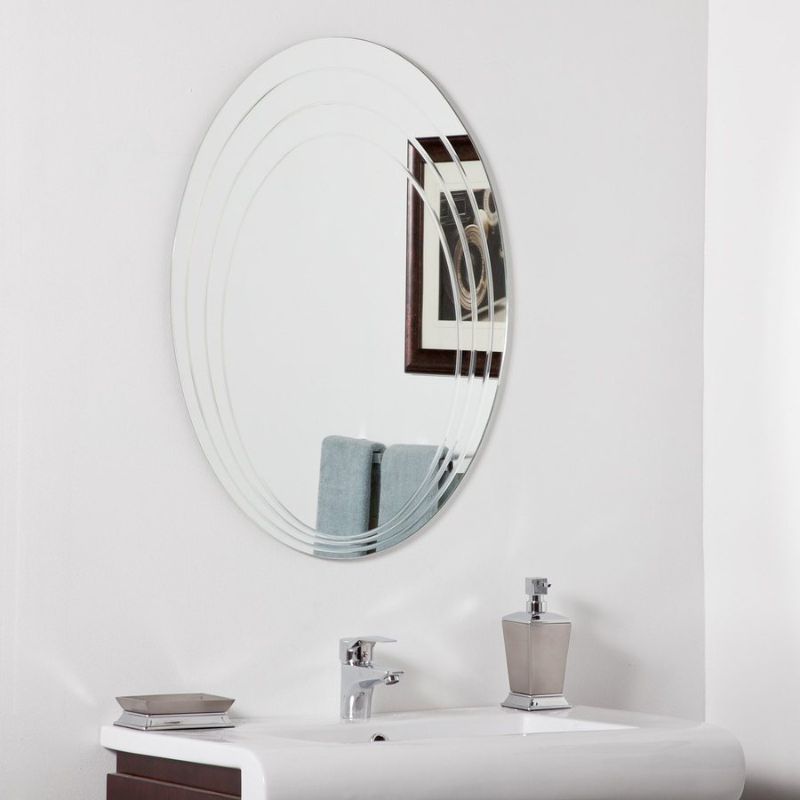 Decor Wonderland Hanna 23.6-in W x 31.5-in H Oval Frameless Bathroom Mirror with Hardware and V-Groove Edges