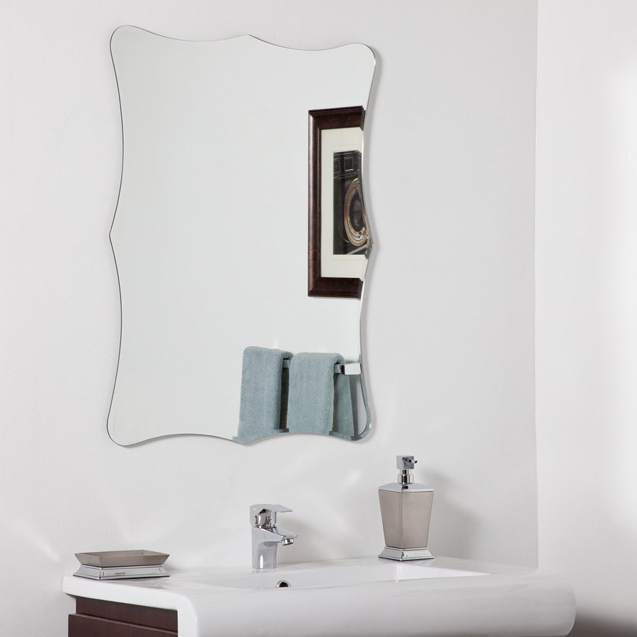 Decor Wonderland Bailey 23.6-in W x 31.5-in H Frameless Bathroom Mirror with Hardware and Beveled Edges
