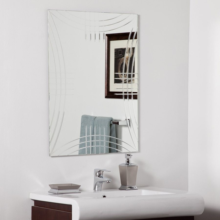 Decor Wonderland Caydon 23.6-in W x 31.5-in H Rectangular Frameless Bathroom Mirror with Hardware and V-Groove Edges