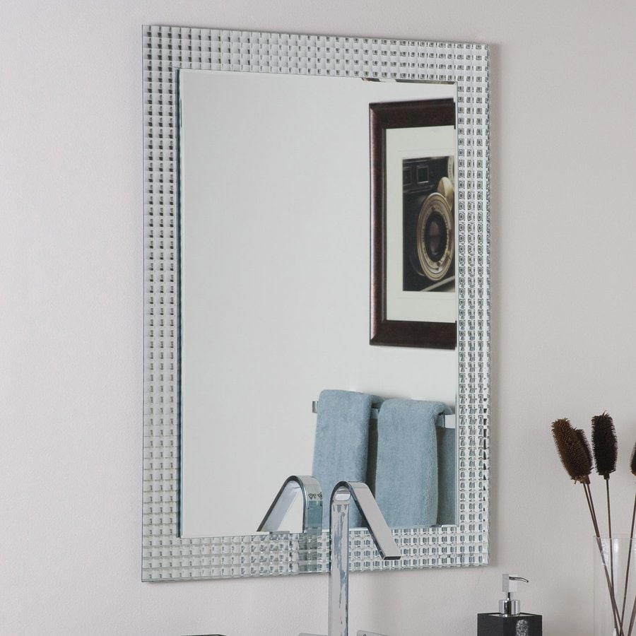 Decor Wonderland Disco Inferno 31.5-in W x 23.6-in H Rectangular Frameless Bathroom Mirror with Hardware and Polished Edges