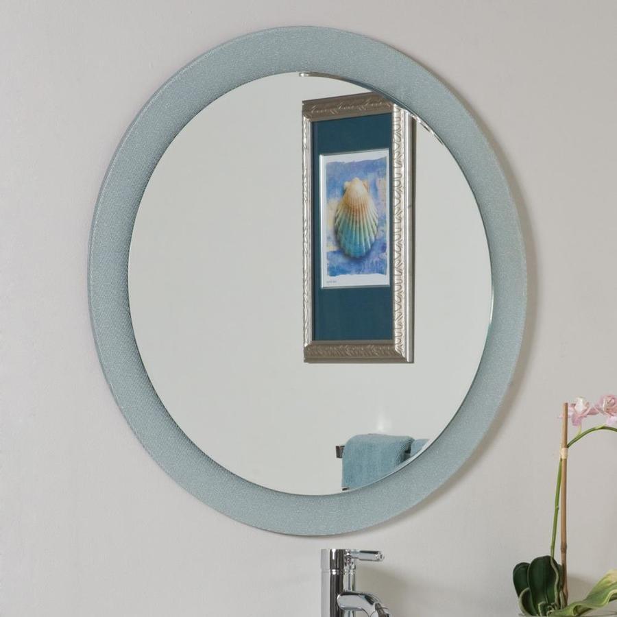Decor Wonderland Zoe 27.6-in W x 27.6-in H Round Frameless Bathroom Mirror with Hardware and Beveled Edges