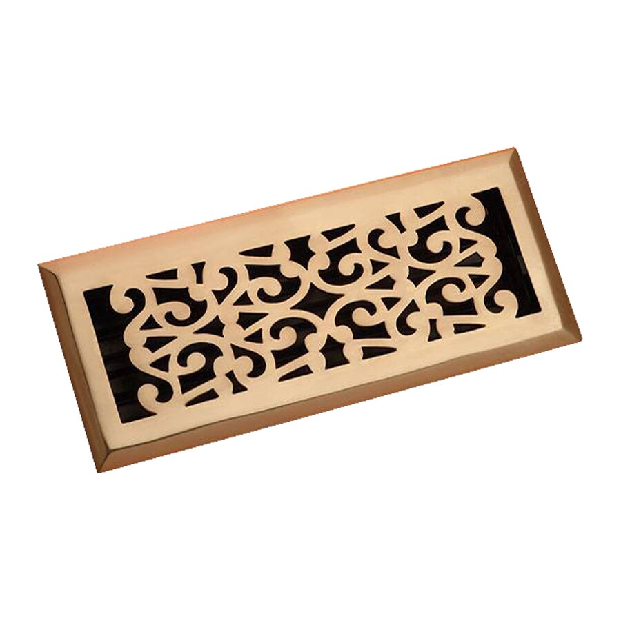 Zoroufy Scroll Polished Brass Solid Brass Floor Register (Rough Opening: 3.875-in x 9.875-in; Actual: 5.25-in x 11.38-in)