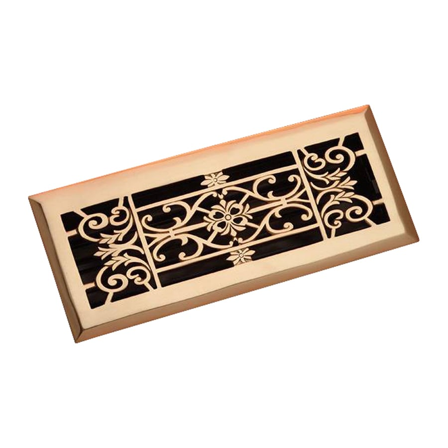 Zoroufy Decorative Polished Brass Solid Brass Floor Register (Rough Opening: 3.875-in x 11.875-in; Actual: 5.13-in x 12.75-in)