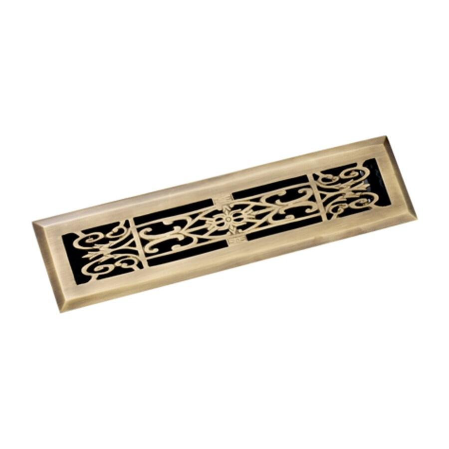 Zoroufy Decorative Antique Brass Solid Brass Floor Register (Rough Opening: 2.125-in x 11.875-in; Actual: 3.38-in x 13.25-in)