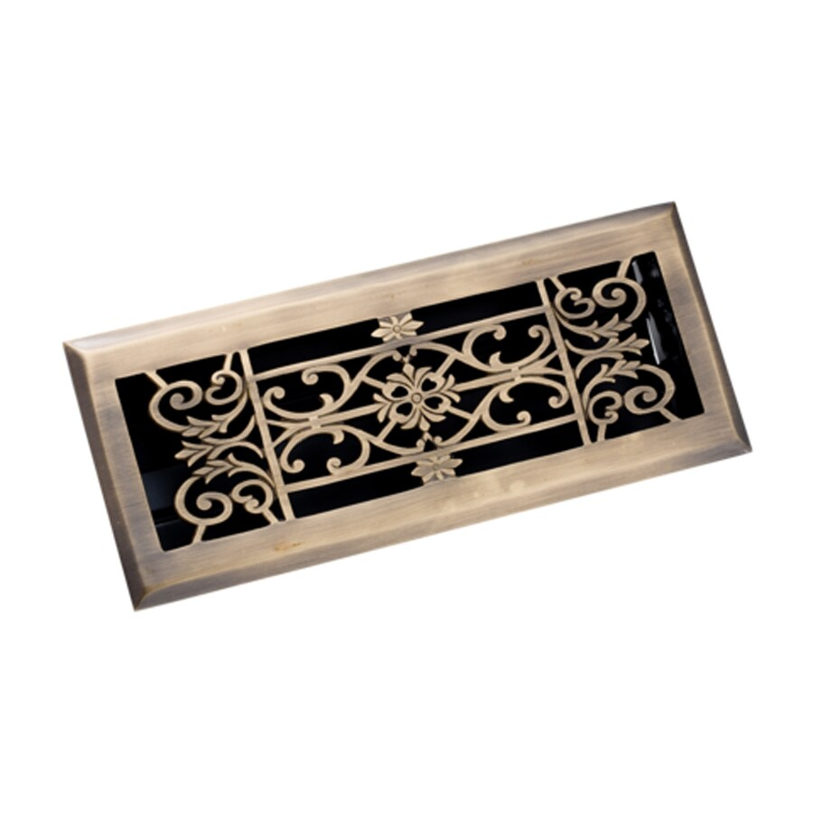 Zoroufy Decorative Antique Brass Solid Brass Floor Register (Rough Opening: 3.875-in x 13.75-in; Actual: 5.13-in x 12.75-in)