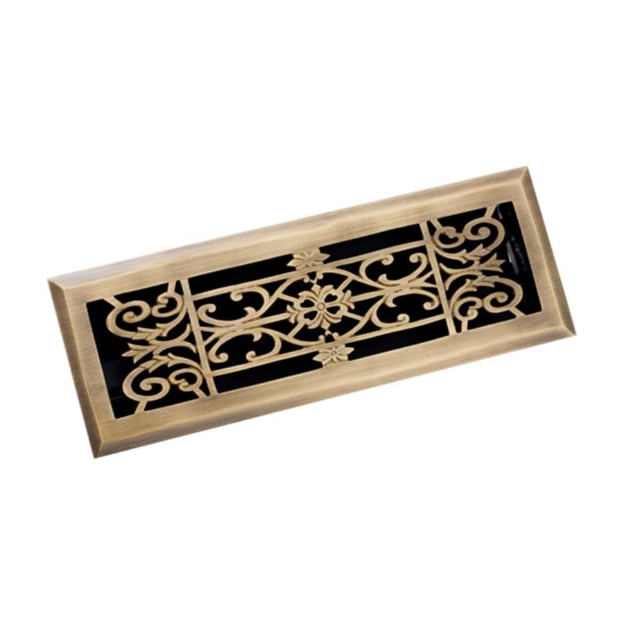 Zoroufy Decorative Antique Brass Solid Brass Floor Register (Rough Opening: 3.875-in x 13.75-in; Actual: 5.13-in x 14.75-in)