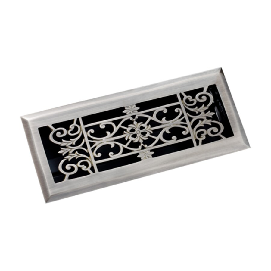 Zoroufy Decorative Antique Pewter Solid Brass Floor Register (Rough Opening: 3.875-in x 11.875-in; Actual: 5.13-in x 12.75-in)