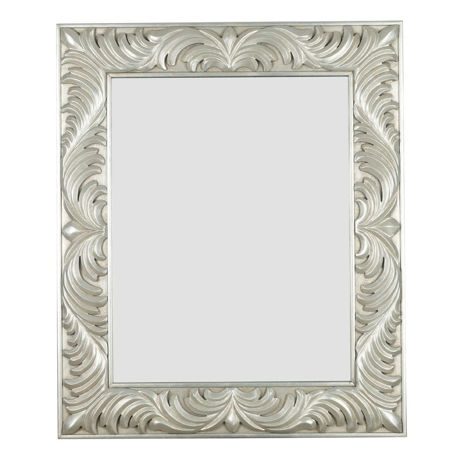 Shop kenroy home antoinette 31 in x 37 in antique silver for Silver framed mirror