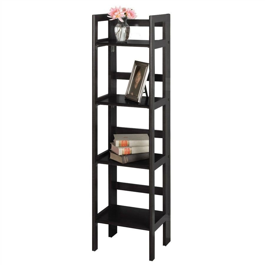Winsome Wood Black 14-in W x 51.5-in H x 11.5-in D 4-Shelf Bookcase